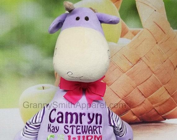 "PURPLE Pastel 12"" Giraffe customized plush animal. Easter Basket, christening, newborn, adoption, personalized gift, customized, birthday"