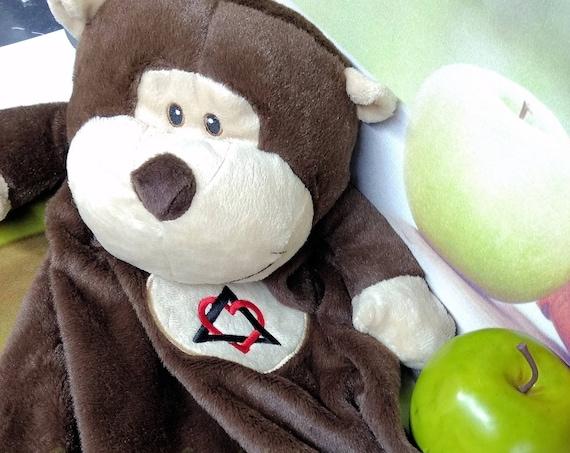 "Monkey customized lovie 20"" blanket bear. Monogram or Name. baby shower, christening, adoption, personalized gift, child's name, girl"