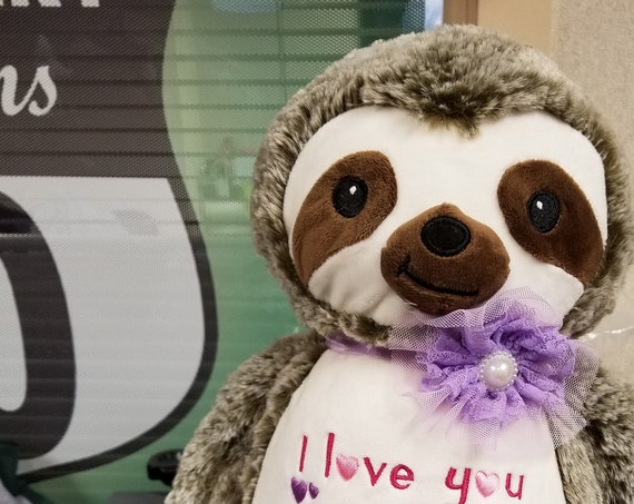 SLOTH stuffie plush animal. Fuzzy Brown & cream tree sloth with custom embroidery.  Personalized sloth stuffed animal. New baby gift sloth.