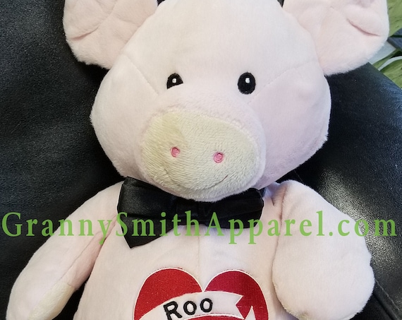 """PINK PIG stuffie plush 16"""" custom embroidery personalized. Graduation. Baby, wedding, birthday, shower, christening, special event, holiday"""