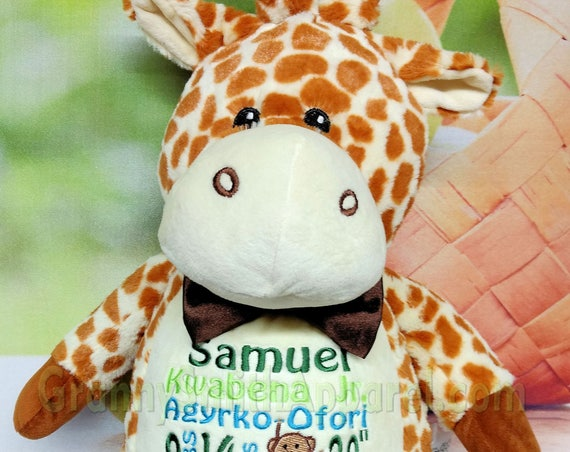 "Giraffe 16"" birth announcement plush animal. Graduation, christening, newborn, adoption, personalized gift, customized, child's name"