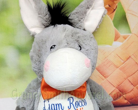 "Donkey Gray 14"" plush stuffed stuffie plushie animal with custom embroidery! Personalized for any occasion.  Cute little furry donkey!"