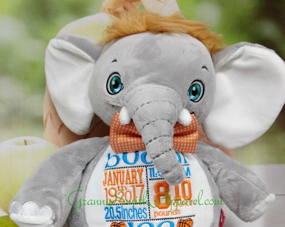 Elephant unique customized & personalized plush plushie stuffed stuffie animal embroidered gift. shower, christening, special event, holiday