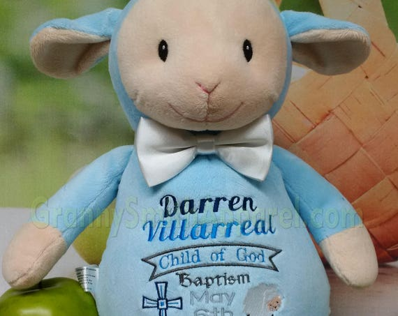 "BLUE Lamb Custom birth announcement 12"" personalized Easter basket plush. Baby, newborn, shower, christening, special event, holiday,"