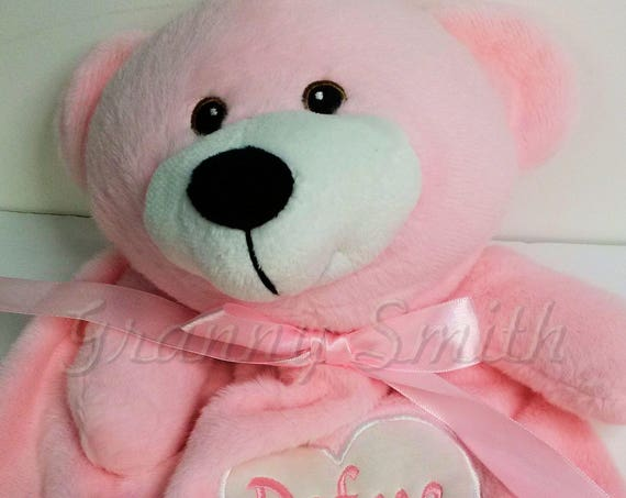 "Pink plush cuddly 10"" or lovie 20"" blanket bear. Monogram or Name. baby shower, christening, adoption, personalized gift, child's name, girl"