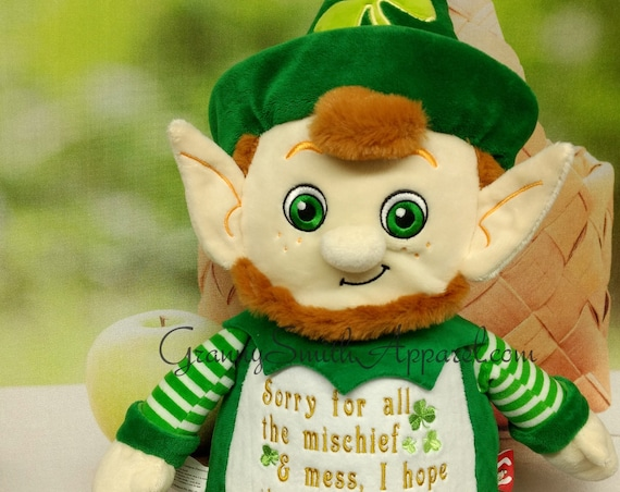 "Leprechaun stuffie Custom 12"" personalized plush embroidered stuffed gift. Irish saying, Irish blessing, Lucky couple, St Patrick's Day"