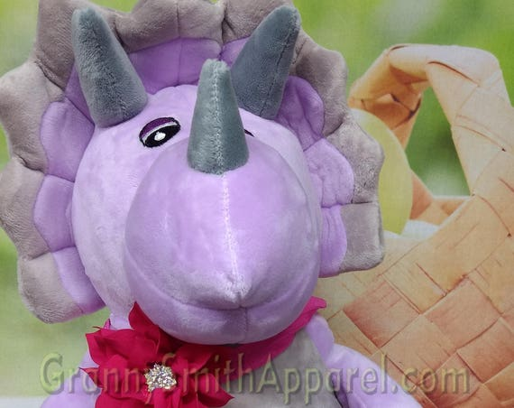 "Purple TRICERATOPS plush dinosaur 16"" stuffie with custom embroidery! Custom embroidery Newborn. Baby shower. Stuffed animal. First birthday"