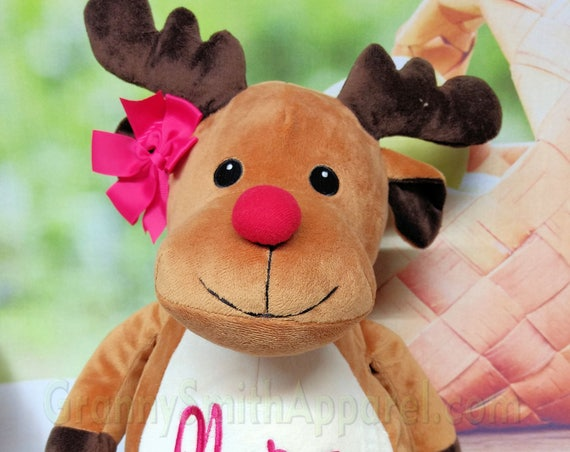 "Rudolph customized boy / girl Reindeer 16"" Christmas stuffed plush animal. Personalized. Christmas, newborn, adoption, personalized gift."