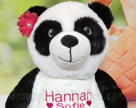 """Panda 13"""" stuffie custom embroidered stuffed plush animal. Graduation, christening, newborn, adoption, personalized gift, customized,"""