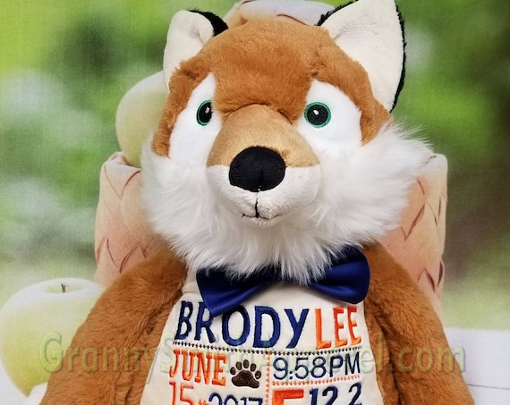 FOX *EXTRA LARGE* and extra plush stuffie custom embroidered stuffed animal. Graduation, personalized gift, customized, child's name