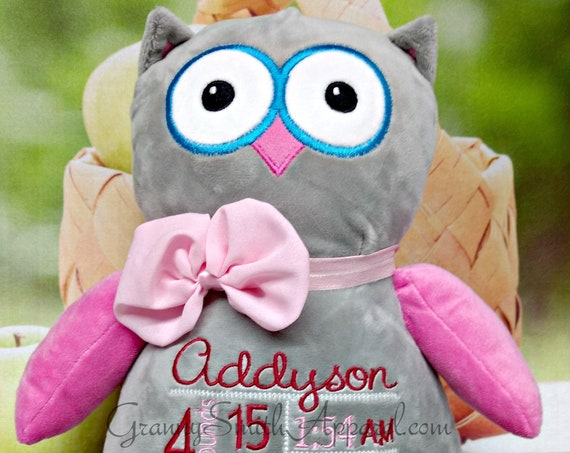 "Gray & Pink Owl plush stuffie Custom embroidered 12"" personalized animal. Birth block announcement, Easter, Baby, special event, holiday,"