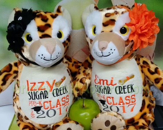 "Personalized CHEETAH leopard cat custom embroidered stuffie.  14"" baby newborns, adults, weddings, proms, gifts, nursery, proposals,  kid."