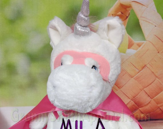 White Silver Unicorn plush custom animal.  Embroidered, personalized tummy. Stuffie. Memorial, Newborn, or a gift for someone left behind.