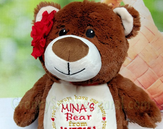 Brown Bear Stuffie plush custom animal.  Embroidered, personalized tummy. Memorial, Newborn, or a gift for someone left behind.