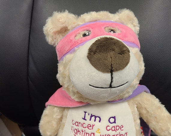 "SUPERHERO girl Hero bear 12"" personalized plush embroidered bear gift. Child cancer fighter. childhood illness.  survivor"