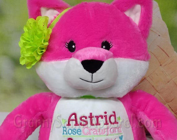 "Pink FOX girl 16"" XL plush stuffie custom embroidered stuffed animal tummy. Birthday. saying, proposal, new baby, Personalized how you want."