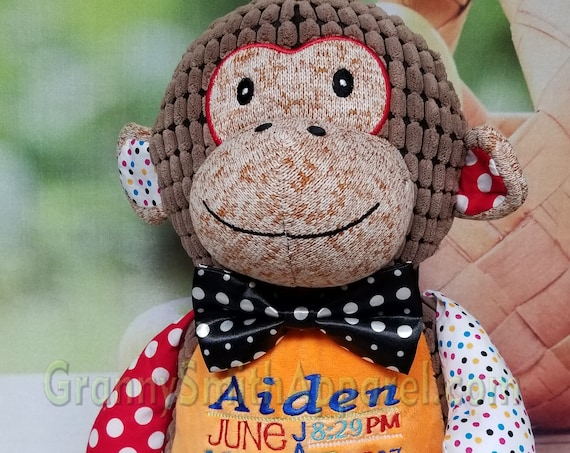 "Polka dot Monkey Circus / Harlequin Custom 12"" personalized plush embroidered. nursery decoration, christening, special event, holiday,"