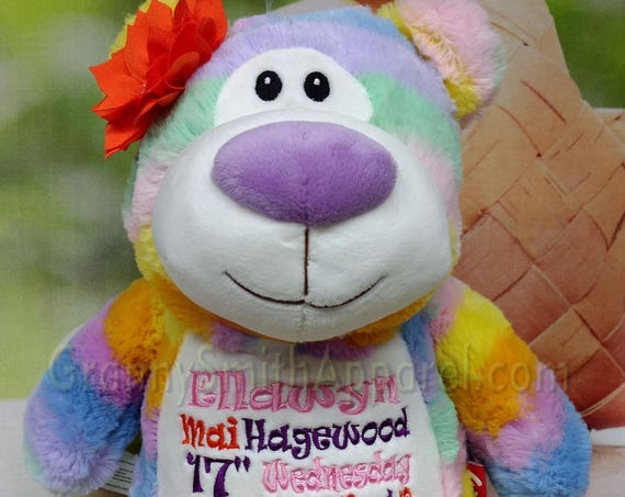 "PASTEL RANIBOW bear Customize & personalize a 12"" embroidered, Christmas. Baby, wedding, birthday, shower, christening special event holiday"