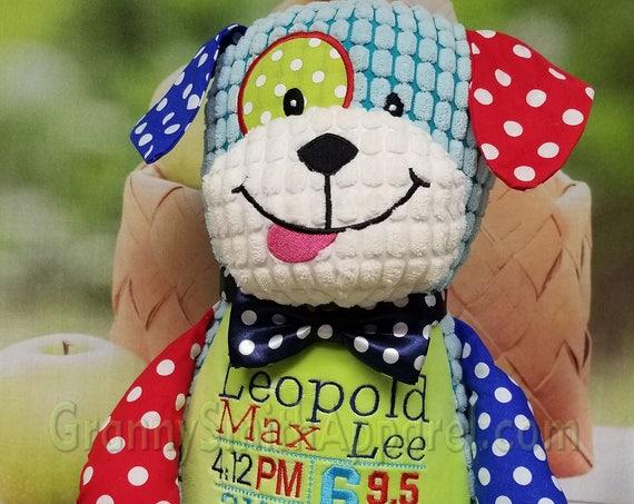 "Polka dot PUPPY Circus / Harlequin Dog Custom 12"" plush stuffie personalized. custom design. embroidered. birth statistics.  I belong to..."