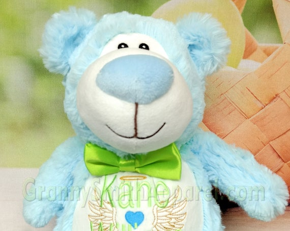 "BLUE and WHITE bear Customize & personalize a 12"" embroidered, valentine, Easter basket, newborn, christening, baptism, or as a memory bear"