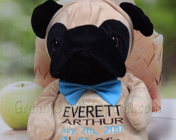 "Brown / black PUG personalized plush 16"" embroidered puppy. Graduation. Baby, wedding, birthday, shower, christening, special event, holiday"