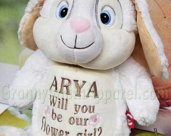 Ask a flower girl, bridesmaid, prom date or pop THE question. Custom saying personalized plush animal for that special moment or date.