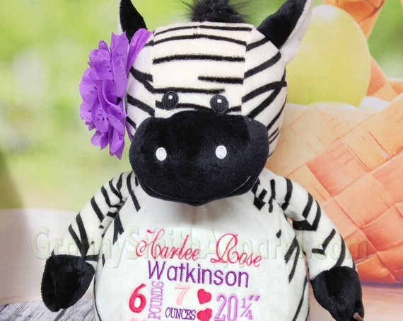 """ZEBRA Plush 16"""" stuffed black / white with custom embroidery! Any occasion, embroidered, monogrammed, personalized gift, customized animal"""
