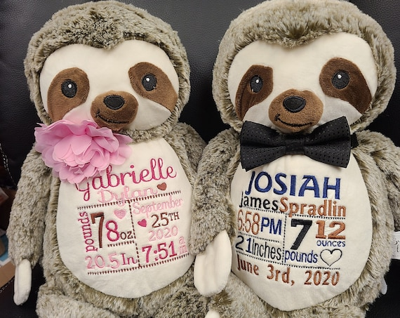 SLOTH custom stuffed animal. Personalized stuffie plush with full embroidery or single monogram. Makes a great gift for any occasion.