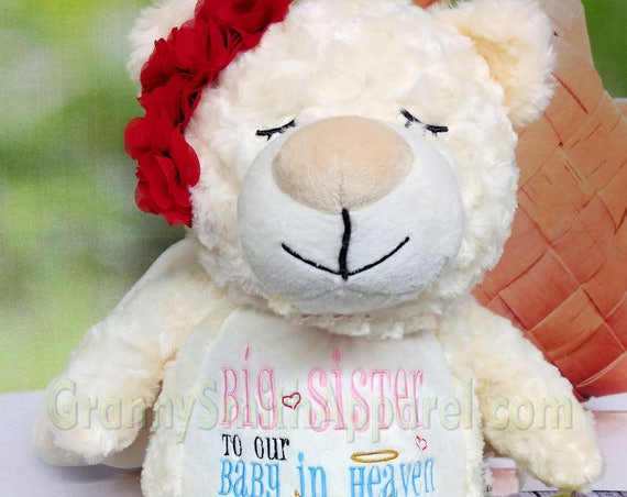 Angel bear stuffie with wings. Embroidered, personalized tummy. Plush stuffed animal plushie. Memorial, Newborn, for someone left behind.