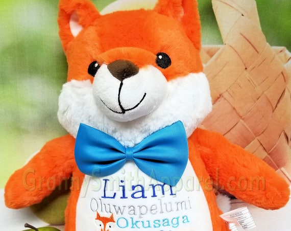 "Orange FOX custom embroidered 13"" plush stuffie with a new look!  Great for any gift giving occasion with your custom embroidered design"