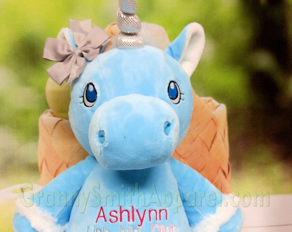 "UNICORN is BLUE Custom embroidered 12"" plush stuffie stuffed animal plushie. Birth announcement, birthday gift, Memorial. Any occasion!"