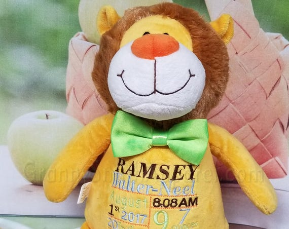 "Yellow lion 12"" stuffed custom embroidered animal plush stuffie. personalized gift. newborn, shower, christening, special event, holiday,"