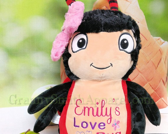 "RED LOVEBUG plushie custom embroidered stuffed animal! Personalized design created for you on the 12"" stuffie! Let's design something!"