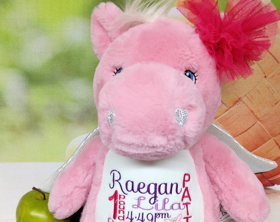 Pink PEGASUS horse plush custom animal.  Embroidered, personalized tummy. Memorial, Newborn, or a gift for someone left behind.
