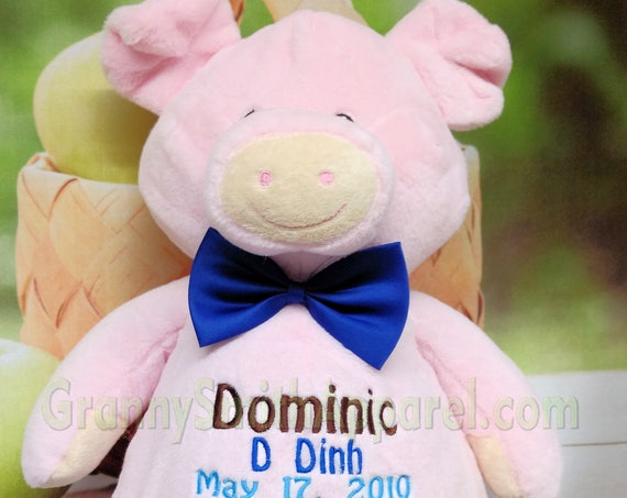 "PINK PIG stuffie plush 16"" custom embroidery personalized. Graduation. Baby, wedding, birthday, shower, christening, special event, holiday"