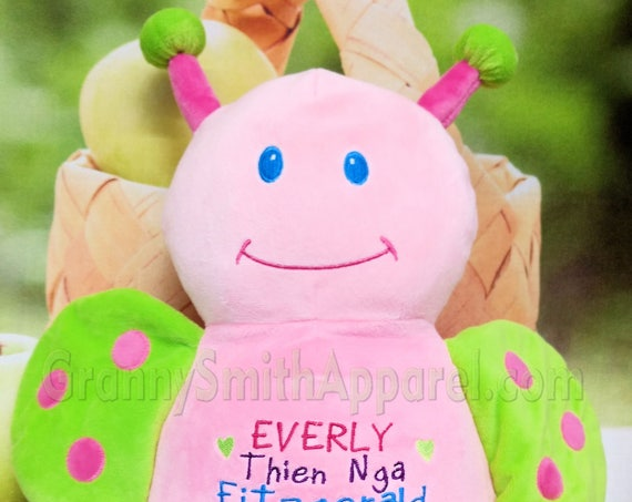 """Butterfly 12"""" **LIMITED SUPPLY** birth announcement plush animal. Christening, newborn, adoption personalized gift, customized, child's name"""