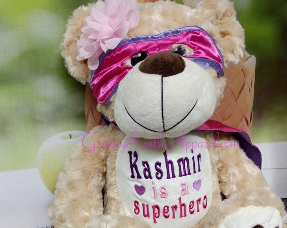"SUPERHERO Hero PINK and purple bear 14"" personalized plush embroidered bear gift. Child cancer fighter. childhood illness.  survivor"