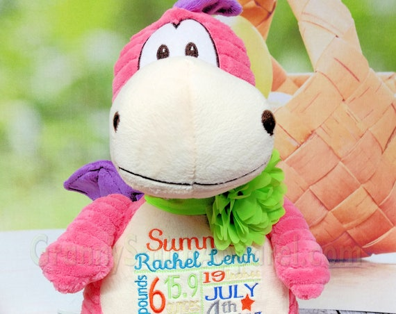 "Pink Dragon 12"" personalized birth announcement plush animal stuffie plushie custom embroidered. gift. baby baptism special event, holiday,"