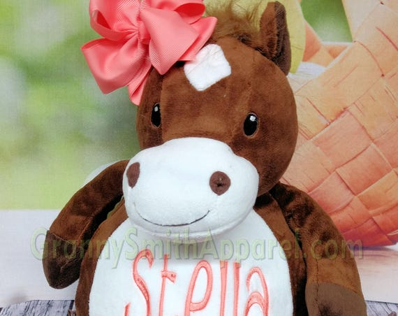 "Chocolate 16"" plush stuffed HORSE with custom embroidery! Any occasion, embroidered, monogrammed, personalized gift, customized animal"
