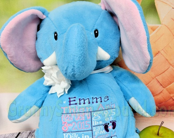 "TURQUOISE ELEPHANT plush16"" customized & personalized embroidered gift. Baby, wedding, birthday, shower, christening, special event, holiday"