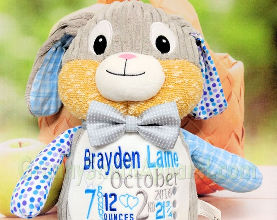 "Bunny 12"" plush stuffed BLUE gray Rabbit w/ plaid and polka-dots custom embroidery! Any occasion, custom animal gift for any age or occasion"