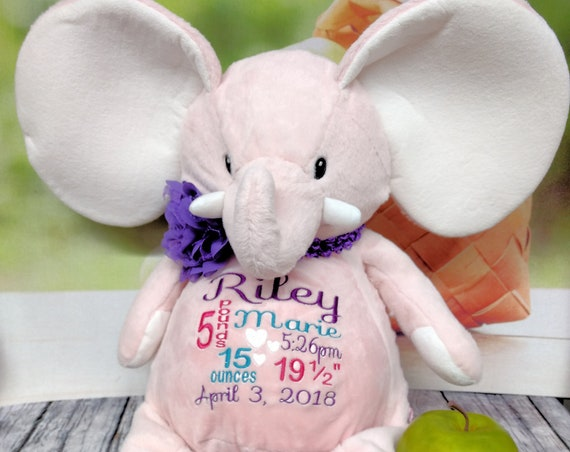 "Elephant PINK 16"" customized & personalized plush plushie stuffed stuffie animal embroidered gift. baby, christening, special event, holiday"