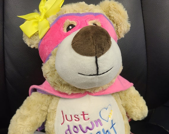 "SUPERHERO girl Hero bear 12"" personalized plush embroidered bear gift. Child cancer fighter. childhood illness.  survivor"