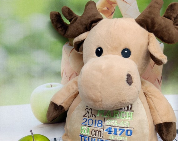 "Moose Caramel 16"" plush stuffed animal stuffie w/ custom embroidery!  Personalized for Any occasion. Personalised tummy designs!"
