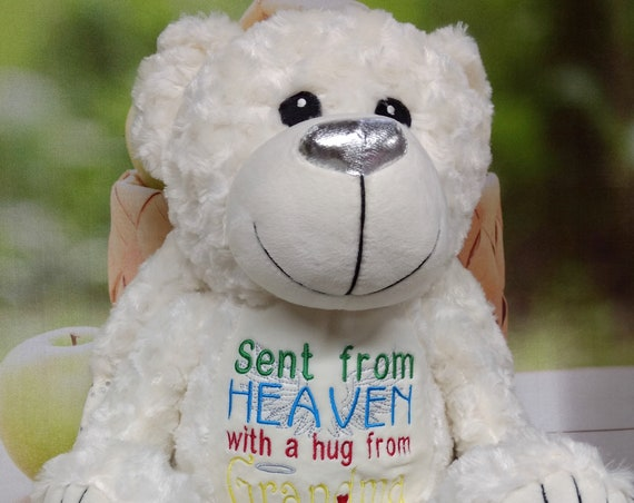 Angel bear stuffie with wings. Urn companion or covering. Grave decoration. Memorial Bear