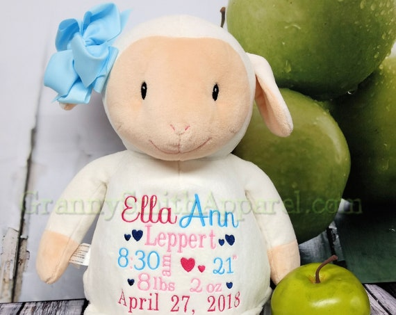 "Lamb Custom birth announcement 12"" stuffie plush personalized Easter basket toy Baby, newborn, shower, christening, special event, holiday,"