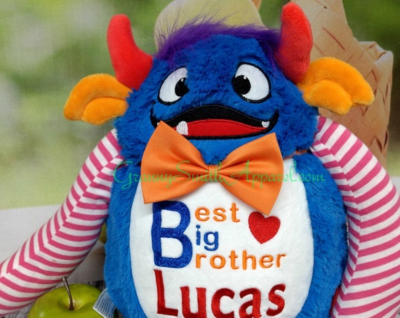 Monster plush stuffed animal stuffie plushie custom embroidered & personalized tummy. Great for any occasion, baby, birth announcement, etc