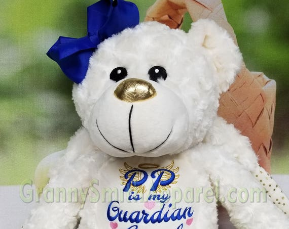 Angel bear plush. Guardian angel custom animal. Custom plushy angel. Embroidered stuffy with wings. Memorial Bear. Heavenly Angel Stuffie