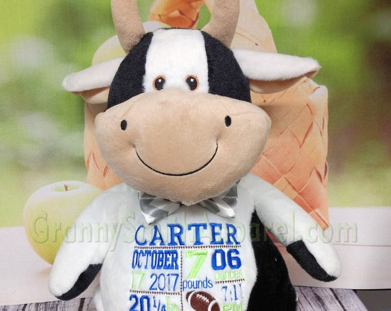 "Cow 16"" birth announcement plush embroidered animal. Monogrammed, subway art, personalized gift, customized, child's name"