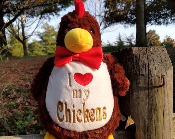 """Our Coop Embroidered chicken """"pillow"""". Custom last name. spring Chick plush Chicken stuffie  personalized animal. Rooster hen embroidered."""